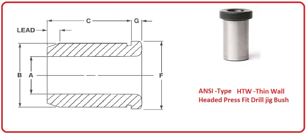 ANSI Type HTW Thin Wall Thickness Headed Press Fit Drill jig Bush