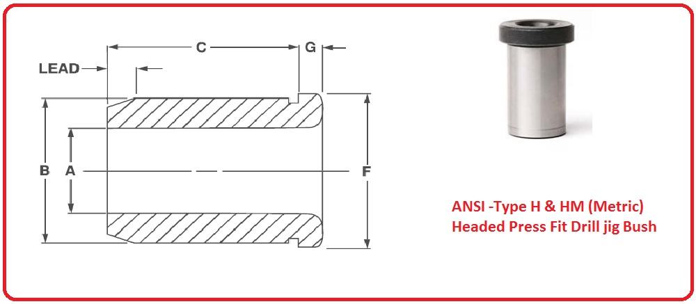 ANSI -Type H & HM (Metric)Headed Press Fit Drill jig Bush