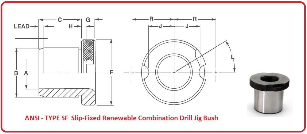ANSI - TYPE SF  Slip-Fixed Renewable Combination Drill Jig Bush